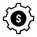 business, cog, dollar, economy, gear icon icon