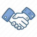 business, deal, finance, hand, shake icon