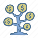 business, dollar, finance, investment, tree icon