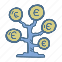 business, euro, finance, investment, tree