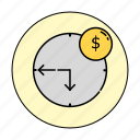 business, cash, clock, currency, finance, money, time icon
