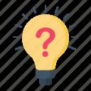 ask, bulb, business, creative, finance, idea icon