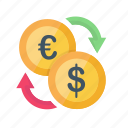 business, currency, dollar, euro, finance, trading, transaction icon
