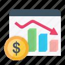 bar, chart, currency, decrease, dollar, finance, graph icon