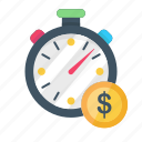 business, dollar, finance, money, stopwatch, time icon