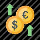 decrease, dollar, euro, finance, growth, money icon