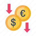 currency, decrease, dollar, drop, euro, finance, money icon