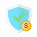 currency, dollar, finance, money, protection, safe, shield icon