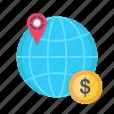 business, dollar, finance, map, marketing, pin, world icon