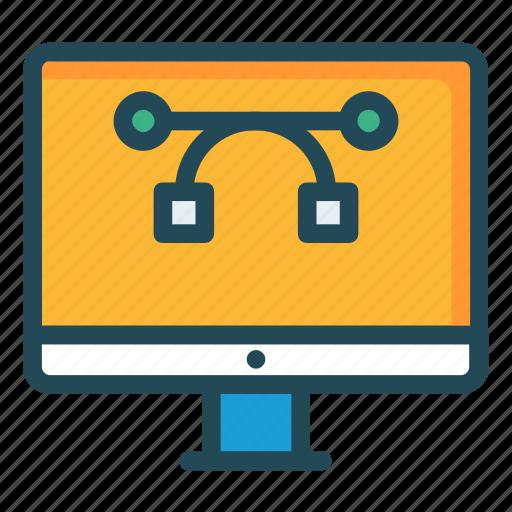 bezier, design, lcd, monitor, screen icon