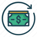 dollar, exchange, finance, money, reload icon