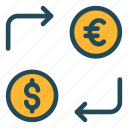 cash, currency, exchange, money, transfer icon