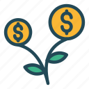 dollar, growth, increase, plant, success icon