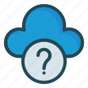 cloud, help, question, server, storage icon