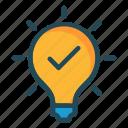 bulb, check, idea, light, tick icon