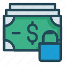cash, dollar, lock, money, protection icon