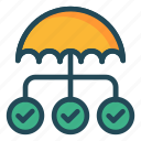 connection, network, protection, safety, umbrella icon