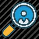 account, magnifier, profile, search, user