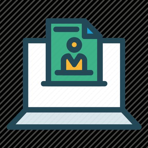 computer, cv, device, document, resume icon