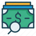 cash, dollar, magnifier, money, search icon