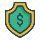 dollar, money, protection, security, shield