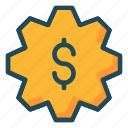 configure, dollar, gear, money, setting icon