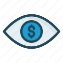dollar, eye, look, see, view icon