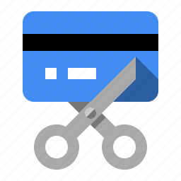 bankrupt, card, credit, cut, debit, scissors icon