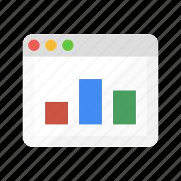 analytics, browser, ecommerce, report, seo, statistics, web icon