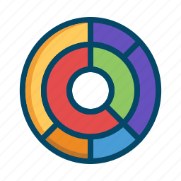 analysis, analytics, business, graphs, pie, radial, report icon