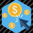 click, dollar, money, pay per click, ppc, sale icon