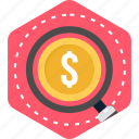 business, currency, dollar, money, search icon