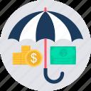 currency, insurance, investment, premium, retirement, security, umbrella icon