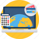 card, international, laptop, online, pay, payment icon