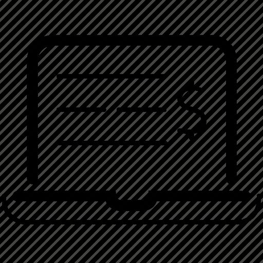 business analysis, dollar, financial, laptop, money, statement icon