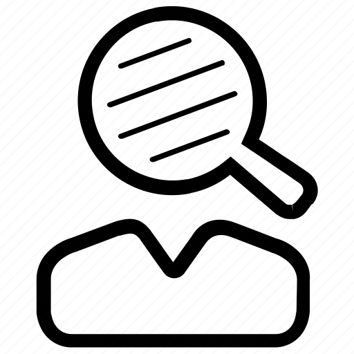 businessman, find, magnifier, profile, search, user icon