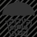 investment insurance, money, protection, umbrella icon
