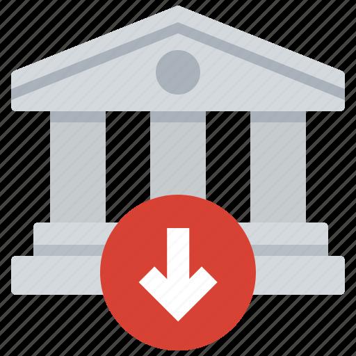 bank, decrease, investing, loss icon