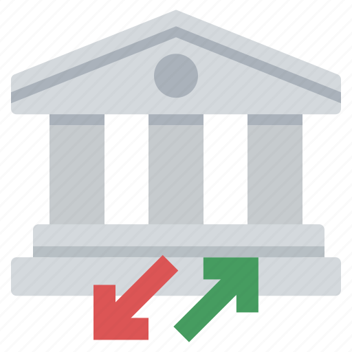 bank, deposit, wire transfer, withdrawal icon