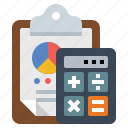 calculator, chart, clipboard icon