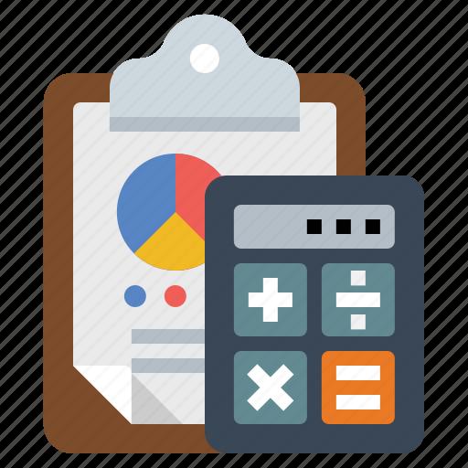 calculator, chart, clipboard icon