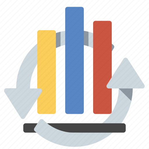 analytics, invest, repeat icon