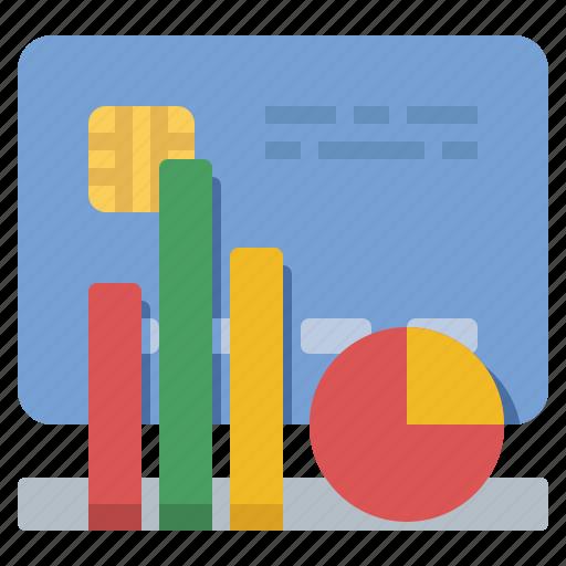 budget, credit card, loss, profit icon