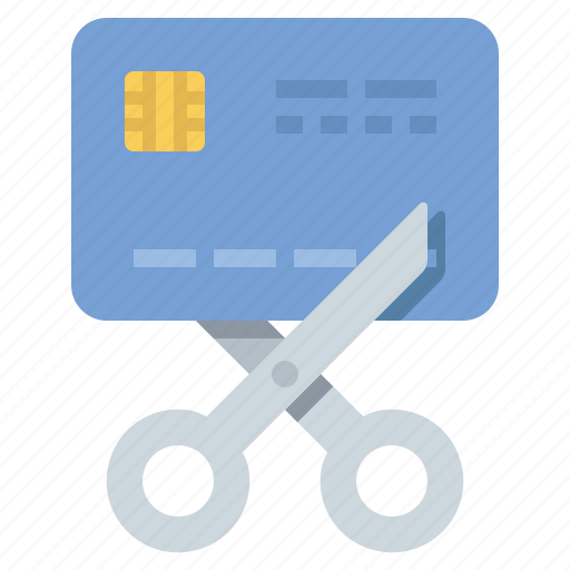 bankrupt, credit card, debt, scissors icon