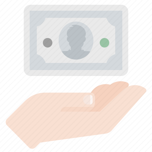 cash, donate, gift, hand, money, payment icon