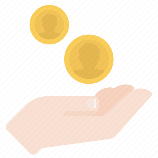 charity, coins, hand, payment icon