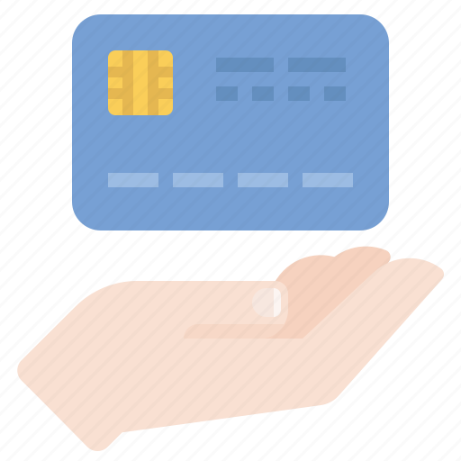 credit card, hand, payment icon