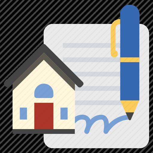 house, mortgage, signature icon