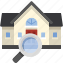 buy, find, glass, house, magnifying, search icon