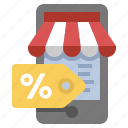 discount, mobile, sale, store icon
